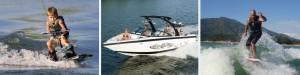 Speedboat, wakesurfing, water skiing